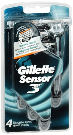 Gillette Sensor3 Disposable Razors Men's 4 Each [047400078116]