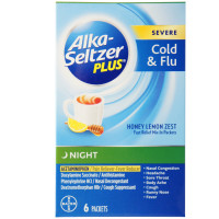 Alka-Seltzer Plus Night Severe Cold + Flu Powder Packets, Honey Lemon 6 ea [016500559399]