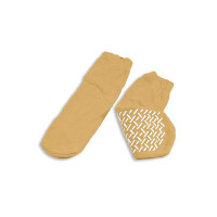 Slipper Socks Soft Sole XLarge Beige Ankle High [616784218335]