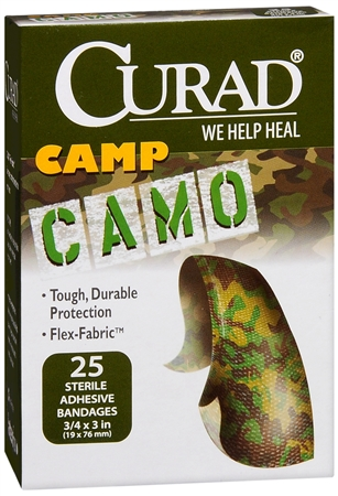 Curad Camp Camo Bandages One Size Brown 25 Each [080196305172]