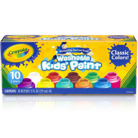 Crayola Washable Kids' Paint, Assorted Colors 10 ea [071662112059]