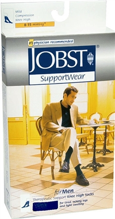 JOBST SupportWear Socks For Men Knee High 8-15 mmHg Navy Large 1 Pair [035664103385]