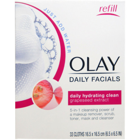 OLAY Daily Facial Hydrating Cleansing Cloths with Grapeseed Extract, Makeup Remover 33 ea [075609041273]
