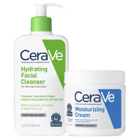 CeraVe Daily Skin Care Set for Dry Skin | Contains CeraVe Moisturizing Cream and Hydrating Face Wash | Fragrance Free [191897750441]