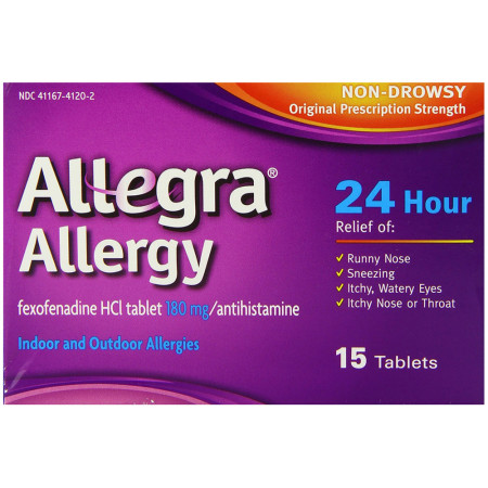 Allegra Allergy 24 Hour Allergy Relief Tablets 15 ea [041167412381]