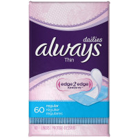 Always Thin Dailies Liners, Unscented, Regular 60 ea [037000449164]