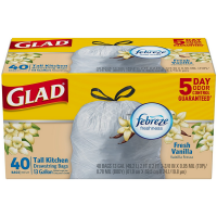 Glad Tall Drawstring Kitchen Trash Bags, 13 Gallon, Fresh Vanilla Scent, White 40 ea [012587783672]