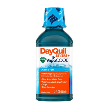 Vicks DayQuil Severe with Vicks Vapocool Cold & Flu Relief Liquid, 12 oz [323900039407]