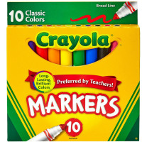 Crayola Classic Markers, Broad Line 10 Each [071662077228]