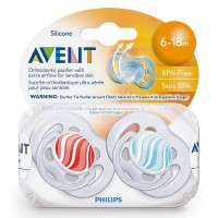 Philips Avent BPA Free Freeflow Pacifiers 6-18 Months, Assorted Colors 2 ea [075020006561]