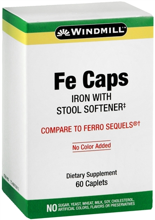 Windmill Fe Caps Caplets With Stool Softener 60 Caplets [035046000837]