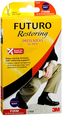 FUTURO Restoring Dress Socks For Men Firm Medium Navy 1 Pair [382250056236]