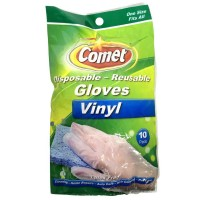 Comet  Disposable - Reusable Gloves,Vinyl ,One Size Fits All  10 ea [071582001945]