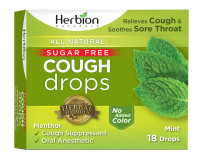 Herbion Naturals Sugar-Free Cough Drops with Natural Mint Flavor, 18 ea [040232176401]