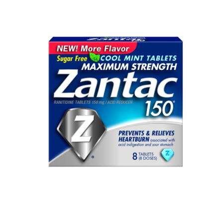 Zantac 150 Maximum Strength Tablets, Cool Mint 8 ea [681421032018]