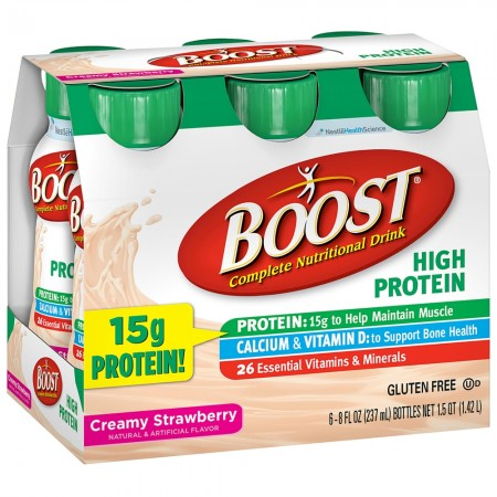 BOOST High Protein Nutritional Energy Drinks Strawberry 48 oz [041679944660]