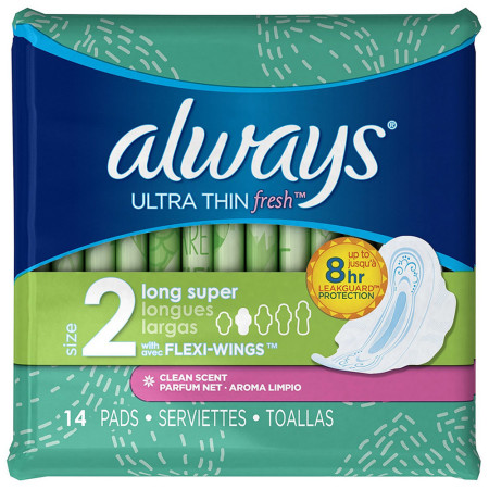 Always Ultra Thin Fresh Long Super Pads with Flexi-Wings, Clean Scent 14 ea [037000029250]
