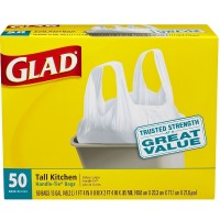 Glad Tall Kitchen Handle-Tie Trash Bags, 13 Gallon, White 50 ea [012587607640]