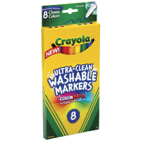 Crayola Ultra-Clean Washable Markers, Color Max, Fine Line Classic Colors 8 Ea [071662078096]