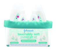 JOHNSON'S Touchably soft Newborn Baby Gift Set, Baby Bath & Skincare for Sensitive Skin, 5 Item [381371177509]
