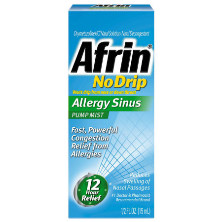 Afrin No Drip Allergy Sinus Pump Mist, Nasal Spray 1/2 oz [041100015099]