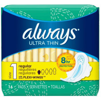 Always Ultra Thin Pads with Flexi-Wings, Size 1, Regular 16 ea [037000945178]
