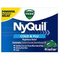 Vicks NyQuil Cold & Flu Nighttime Relief LiquiCaps 48 ea [323900014411]