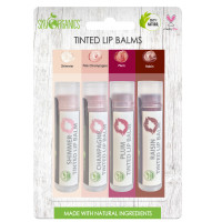 Sky Organics 100% Natural Cruelty-Free Tinted Lip Balms, Variety Pack, 4 ct. [856045007630]