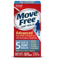 Move Free Advanced Glucosamine Chondroitin MSM Vitamin D3 and Hyaluronic Acid Joint Supplement, 80 ct [020525118356]