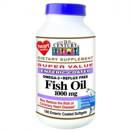 21st Century Fish Oil 1000 mg Enteric Coated Softgels 180 ea [740985228739]