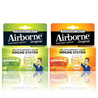 Airborne Immune Support Effervescent Tablets Lemon Lime 10 Ct & Zesty Orange 10 Ct 1 ea [191567042302]