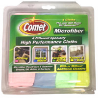 Comet High Performance Microfiber Cloths, Assorted Colors 4 ea [071582001518]