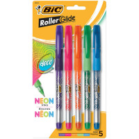 Bic RollerGlide Fine Point Deco Neon Pens, Assorted Colors 5 ea [070330328433]