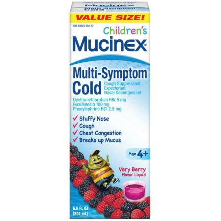 Mucinex Children's Multi-Symptom Cold Liquid Medicine, Very Berry, 6.8 oz [363824010670]