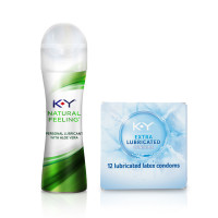 K-Y  Natural Value Pack with Extra Lubricated Natural Fit Latex Condoms (12cnt) and Aloe Vera Natural Feeling Personal Lubricant Gel (1.69oz),  1 ea [191897974236]