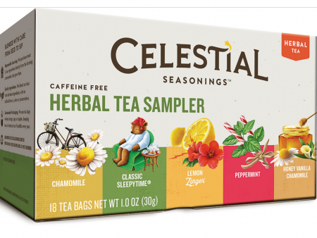 Celestial Seasonings Herbal Tea Sampler with 5 Flavors 18 ea [070734052439]