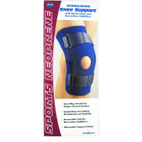 FLA ORTHOPEDICS Safe Sport Stabilizing Knee Support with Spiral Stays and Horeshoe Stabilizer Blue Medium 1 Each [719869531227]