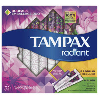Tampax Radiant Plastic Tampons, Duo Pack 32 ea [073010015371]