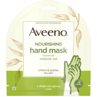 Aveeno  Nourishing Hand Therapy Mask Moisturizing formula with Prebiotic Oat for Dry Skin, Fragrance-Free and Paraben-Free, 2 Single-Use Gloves 1 ea [381371181414]