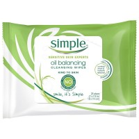 Simple Sensitive Skin Experts Oil Balancing Cleansing Wipes 25 ea [087300271545]