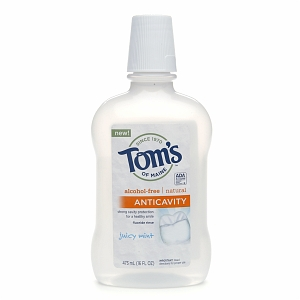 Tom's of Maine Anticavity Fluoride Rinse Juice Mint 16 oz [077326830482]