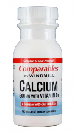 Windmill Comparables Calcium 500 mg Tablets With Vitamin D3 60 Tablets [035046000691]