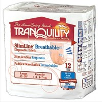 Tranquility SlimLine Breathable Briefs Large 45 to 58 Inch Waist / Hip - 12 ea [070319023069]
