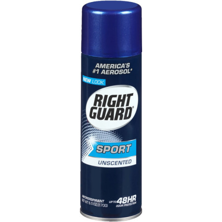 Right Guard Sport Unscented Aerosol Antiperspirant Spray 6 oz [017000068329]