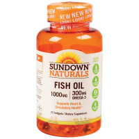 Sundown Fish Oil 1000 mg Softgels Cholesterol Free 60 Soft Gels [030768037208]