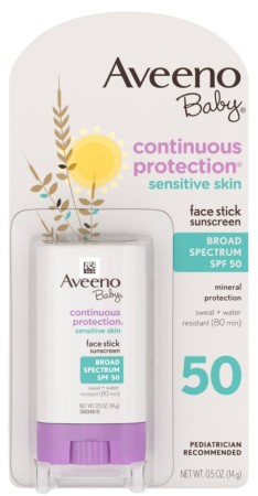 AVEENO Baby Continuous Protection Face Stick Sunscreen SPF 50, 0.5 oz [381371018703]