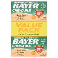 Bayer Chewable Low Dose Aspirin 81 mg Tablets Orange Value Pack 108 Tablets [312843101050]