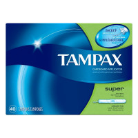 Tampax Cardboard Applicator Tampons, Super Absorbency 40 ea [073010321106]