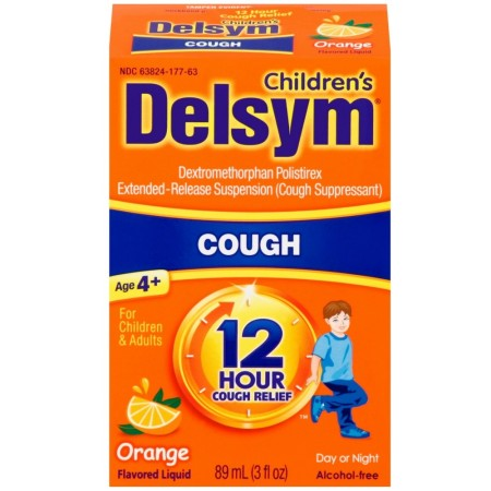 Delsym Children's Cough Suppressant Liquid, Orange Flavor, 3 oz [363824276632]
