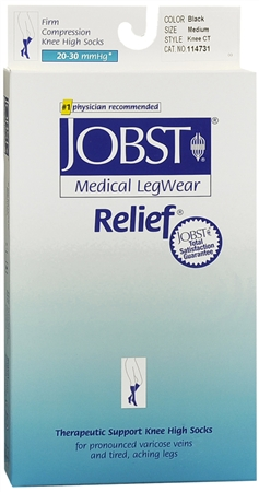JOBST Medical LegWear Relief Knee High Socks Firm Compression 20-30 mmHg Medium Black 1 Pair [035664147310]
